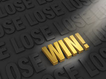 You Can Win!. A spotlight illuminates a bright, gold WIN on a dark background with rows of word LOSE Royalty Free Stock Images