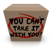 You Cant Take It With You Words Cardboard Box Share Donate stock illustration