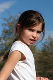 Are You Coming?. Young girl looking over her shoulder stock photography