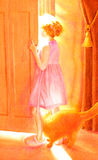 Are you coming out to play. Girl about seven answering door on a hot sunny day, her curious cat keeping her company Royalty Free Stock Photography