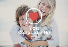 You Complete Me Fulfill Valentine Romance Love Heart Dating Concept. Couple Love Valentine Romance Concept stock photo