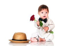 You congratulated their favorite? Emotional pretty baby gentleman Stock Photos