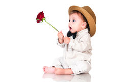 You congratulated their favorite? Emotional pretty baby gentleman Royalty Free Stock Photography