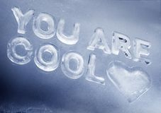 You Are Cool. Written with real ice letters Stock Photo