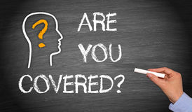 Are You Covered Blackboard Words Stock Photo