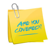Are you covered memo post illustration design Stock Image