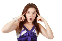 Are you crazy? isolated on a white. Young woman pointing her fingers to the head Stock Photos