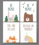 You are so cute. Be brave. Believe in yourself. Little fox, bear, rabbit and unicorn posters set for kids room. Hand. Written lettering. Stock vector vector illustration