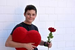 Teenager in love. For you! Cute teenage  boy carries a heart shaped pillow and a red rose Royalty Free Stock Image