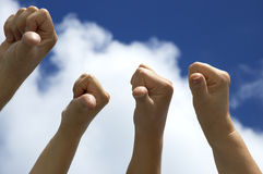 You are dead!. Hands in the sky showing displeasure stock photo
