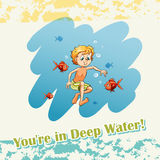 You are in deep water. Illustration Royalty Free Stock Photo