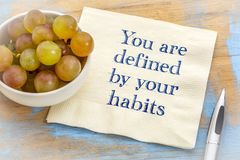 You are defined by your habits. Inspirational handwriting on a napkin with some grapes Royalty Free Stock Photo