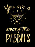 You are a Diamond among the Pebbles. Printable Typography Design Poster Gold on Black background Royalty Free Stock Photos