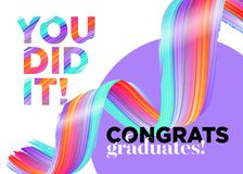 You Did It Congratulations Graduates Class of 2018 Vector Logo. Creative Party Invitation, Poster, Card. Background Design with Typography and Bright Ink stock illustration