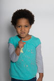 You did it!. A young angry girl accuses someone Royalty Free Stock Photography