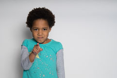 You did it!. A young angry girl accuses someone Stock Photos