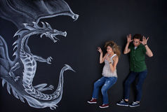 You don't scare us! stock photo