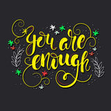 You are enough - lettering Stock Photo