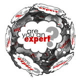 Are You an Expert Thought Cloud Words Knowledge Skills. Are You an Expert question in thought clouds asking if you have expertise, skills and knowledge to Stock Images
