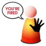 You are fired. Vector isolated red yellow orange person with black hand sign stop and speech bubble with text You're fired on white background - unemployment and Stock Photo