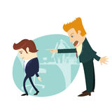 You are fired! Angry businessman screaming and pointing on the m. Vector illustration You are fired! Angry businessman screaming and pointing on the manager at Stock Image