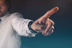 You are fired concept, boss gesturing way out hand sign. With index finger Royalty Free Stock Images