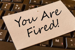 You are fired Concept on keyboard note royalty free stock images