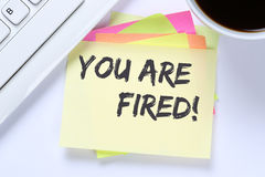 You are fired employee losing jobs, job working unemployed busin Royalty Free Stock Image