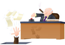 You are fired. Illustration of a boss fired his corporate employee loose holding his papers isolated on white Stock Images