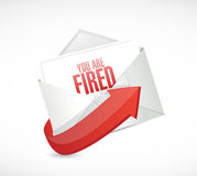 You are fired message mail illustration design. Over a white background Royalty Free Stock Image