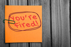 You are fired word Stock Image