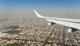Pollution on Mexico City view from the air royalty free stock photos