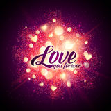 You forever vector sign on shining hearts flash Stock Images