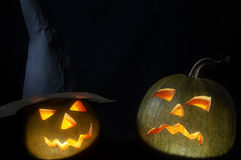 You frighten me!. Two Helloween pumpkins with mystic soft light Stock Image