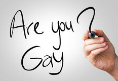 Are you gay hand writing with a black mark on a transparent board.  royalty free stock photos