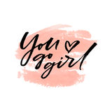You go girl on watercolor peach background. Vector illustration. Stock Image