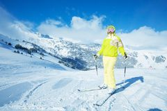 When you go long piste downhill take a rest Royalty Free Stock Photo
