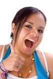 You got it!. Pudgy latin girl showing thumbs up in white background Royalty Free Stock Image