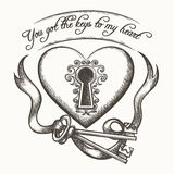 You got the keys to my heart vintage hand drawn vector illustration with ribbon isolated on white background Royalty Free Stock Photos