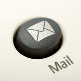 You got mail. Extreme macro shot of the keyboard button mail Royalty Free Stock Photography