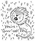 You are great. Cute lion cartoon vector illustration. Cartoon lion roaring. Black and white vector illustration. Funny cartoon lion vector print with text - You Royalty Free Stock Photo