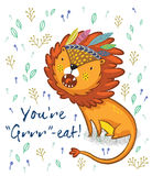 You are great. Cute lion cartoon vector illustration Stock Photography