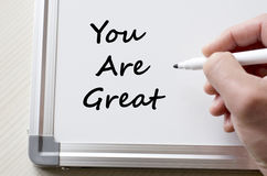You are great written on whiteboard Royalty Free Stock Photography