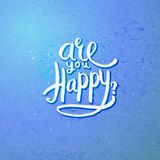 Are You Happy Concept on Blue Violet Background Royalty Free Stock Photo