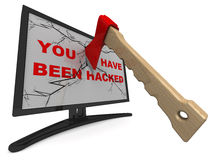 You Have Been Hacked. Axe Splits Monitor Stock Images