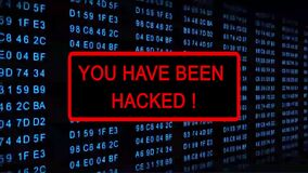 YOU HAVE BEEN HACKED! flashing warning in a red framed subscreen - digital computer display with permanently changing code numbers