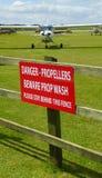 Warning sign of propellors at airport Stock Photos