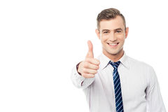 You have done a great job !. Business executive showing thumbs up gesture Stock Images