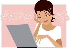 You have got a mail. Girl is checking her email Stock Illustration