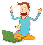 You have a new email. Illustration of a man get a new email vector illustration